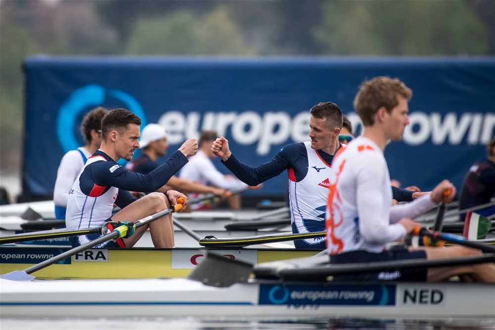 Start,  Lightweight Men's Quadruple Sculls, Netherlands, 2021 European Rowing Championships, Varese, Italy / Benedict Tufnell